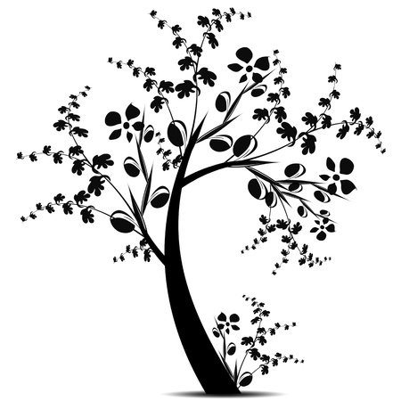 Beautiful art tree silhouette isolated on white background Stock Vector - 13595672