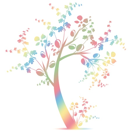 Colorful art tree silhouette isolated on white background  Vector