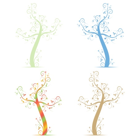Colorful art tree isolated on white background Stock Vector - 13760155
