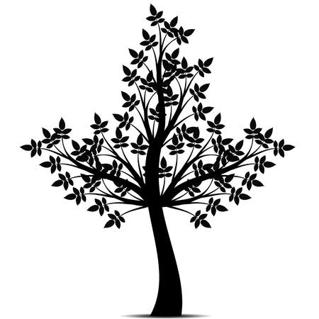 Schöne Kunst Baum isoliert auf weißem Hintergrund Vektorgrafik