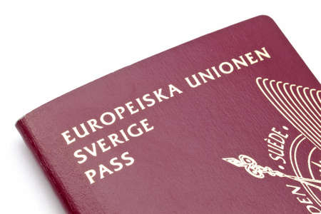 Swedish passport closeup on white background  photo