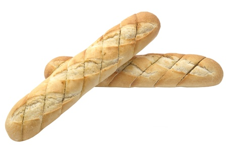 Garlic baguette closeup on white background photo