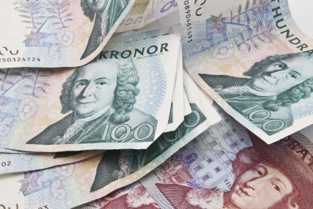 Background of Swedish currency closeup  photo