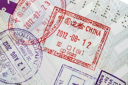 Background of passport stamps closeup  photo