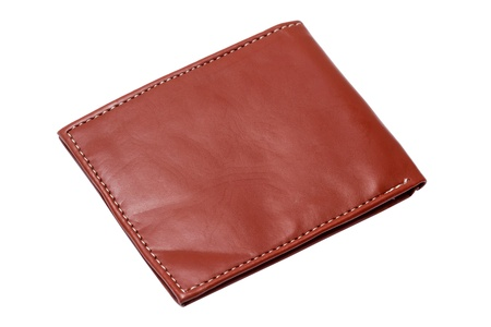 Brown wallet isolated on white background photo