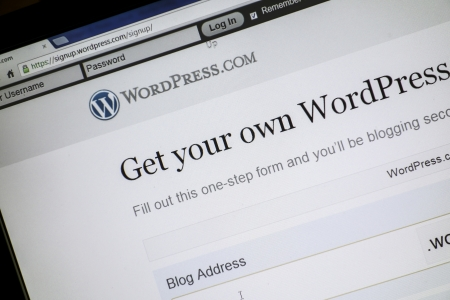 WorldPress website display on a computer screen Stock Photo - 14998302