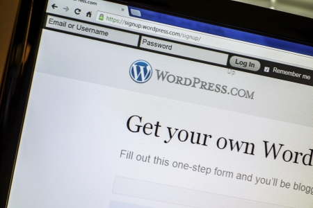 WorldPress website display on a computer screen Stock Photo - 14998301