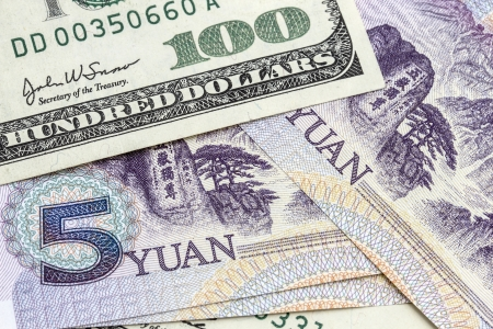 USD and Chinese Yuan clolseup  photo