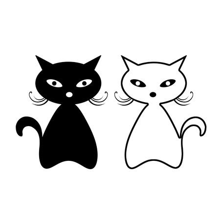 白い背景で隔離黒猫のシルエット  イラスト・ベクター素材