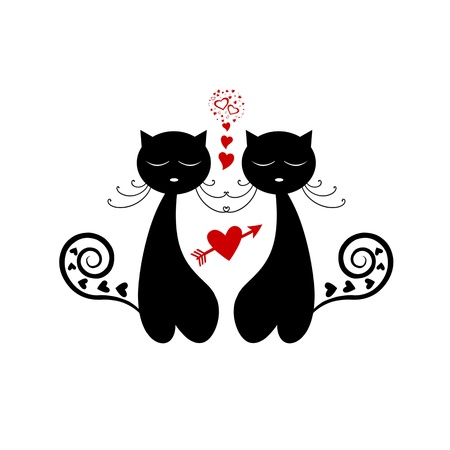 Love Cat Silhouette isolated on white background Stock Vector - 15581666