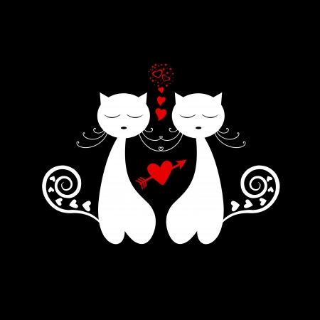 Love Cat Silhouette isolated on black background Vector