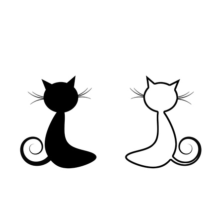 Black cat silhouette isolated on white background photo