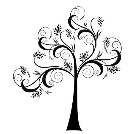 bomen zwart wit: Mooie kunst boom geïsoleerd op witte achtergrond