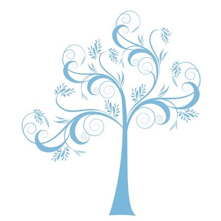 abstract tree: Beautiful art tree isolated on white background Illustration