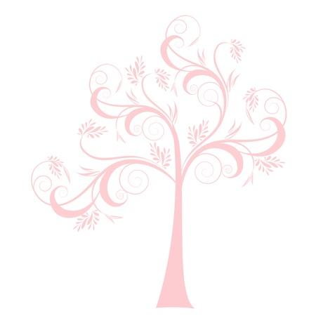 pink bushes: Beautiful art tree isolated on white background Illustration