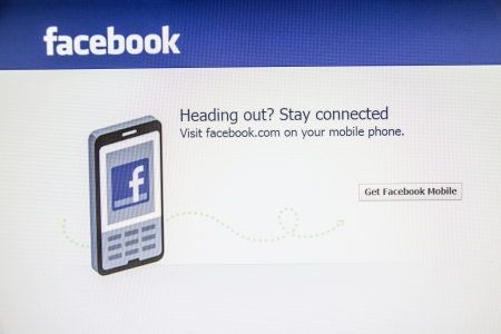 Facebook website displayed on a computer screen