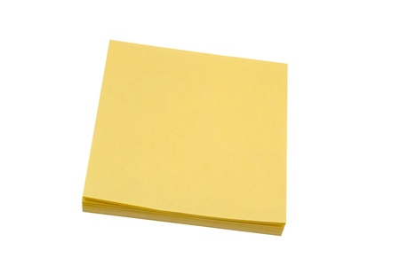 Yellow memo paper isolated on white background  photo