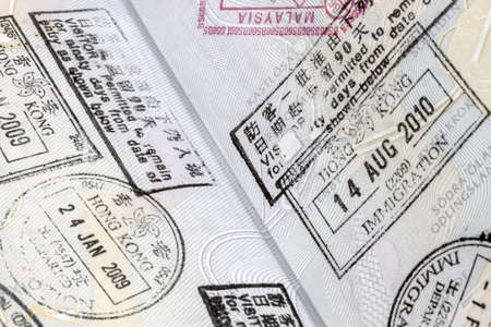 immigration arrival stamps on passport Stock Photo - 16554331