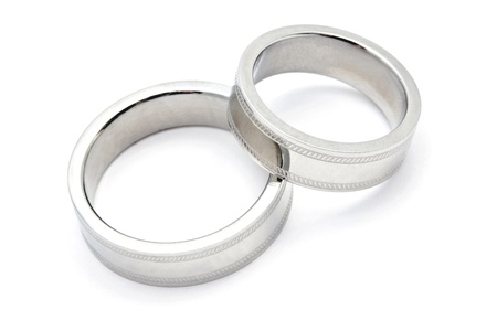 Wedding rings of Forever Love isolated on white background