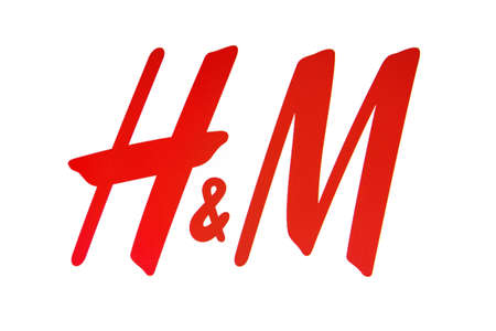 hm: H&M logo displayed on a computer screen Editorial