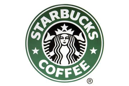 logo informatique: logo Starbucks affichée sur un écran d'ordinateur