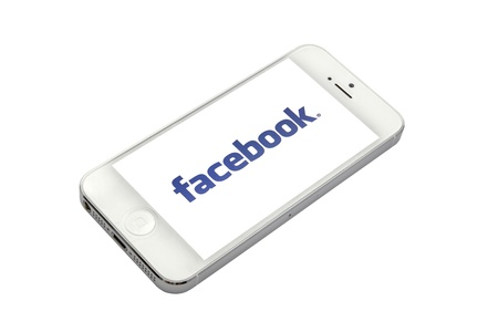 facebook logo on a iPhone 5 screen