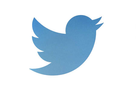 hardware icon: Twitter bird logo displayed on a computer screen Editorial