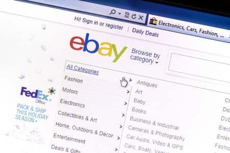 ebay: ebay website displayed on a computer screen