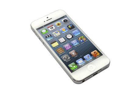 白い背景で隔離の iphone 5 報道画像