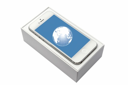 iphone5: iPhone5 in box isolated on white background
