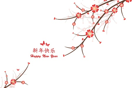 Happy New Year Card with Chinese and English text Stock Vector - 17380290