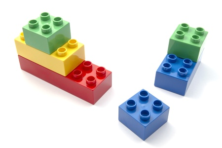 toys pattern: Colorful building blocks closeup on white background  Stock Photo