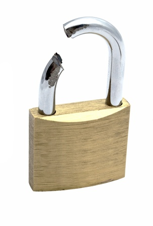 Broken padlock isolated on white background   photo