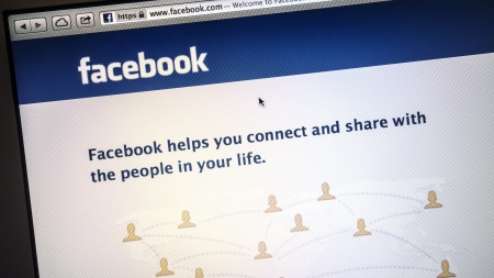 Facebook website display on computer screen
