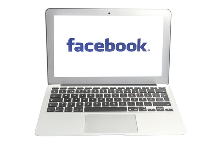 Facebook display on laptop screen