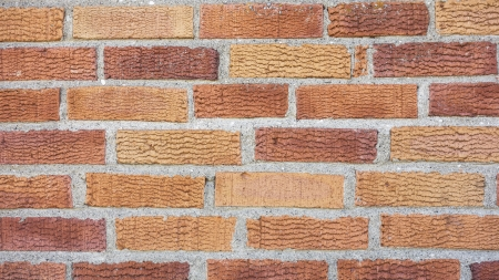 Texture of red bricks wall background photo