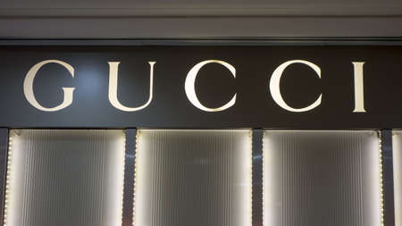 Gucci sign closeup on the shop