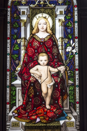 Mother and Child, stained glass in Vatican Museum , Rome, Italy