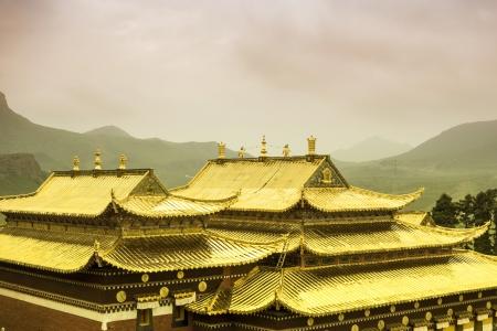 lamaism: Golden roof of Langmusi temple , sichuan, china