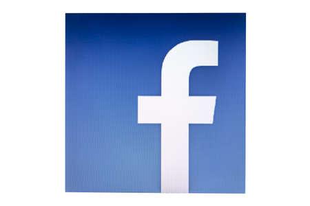 facebook: Facebook logo display on computer screen Editorial