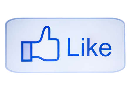 Like button closeup on white background photo