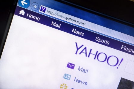 Yahoo website displayed on computer screen