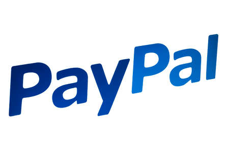 Pay Pal logo closeup on white background