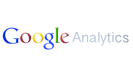 Google Analytics closeup on white background Redakční