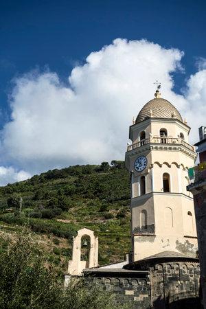 vernazza: Clocktower in Vernazza ,Cinque Terre, Italy