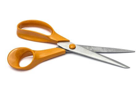 handled scissors isolated on white Stock Photo - 24580980