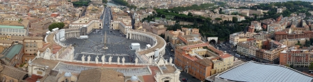 Panorama of Rome from Saint Peters basilica, Rome, Italy
