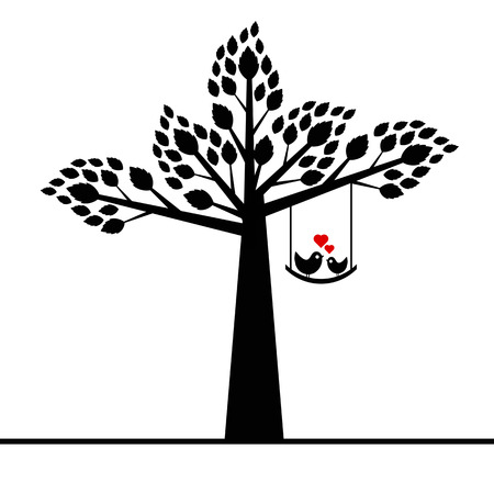 valentine tree isolated on white background  Vector