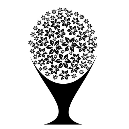 art tree silhouette isolated on white background Vector