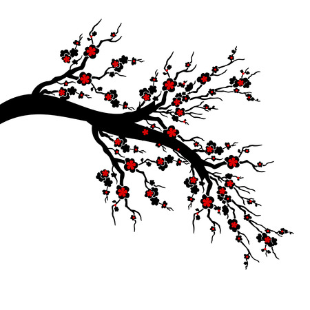 Cherry Blossoms Tree isolated on white background Vector